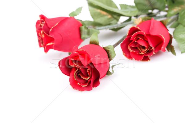 ストックフォト: 赤いバラ · 孤立した · 白 · 愛 · 美 · 葉