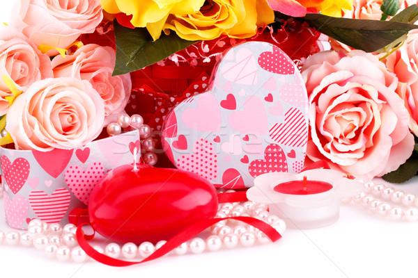 красочный роз свечей бисер шкатулке Сток-фото © ruzanna