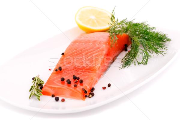 Salmón filete limón placa aislado blanco Foto stock © ruzanna
