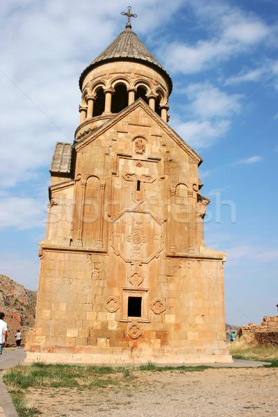Mosteiro Armênia vermelho céu edifício igreja Foto stock © ruzanna