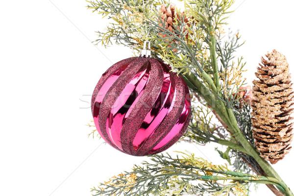 Karácsony labda dekoráció izolált fehér piros Stock fotó © ruzanna