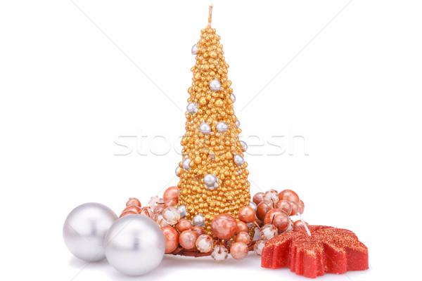 Natal decoração velas isolado branco Foto stock © ruzanna