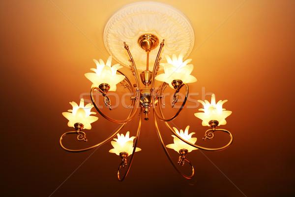 люстра роскошный подвесной дома свет красоту Сток-фото © ruzanna