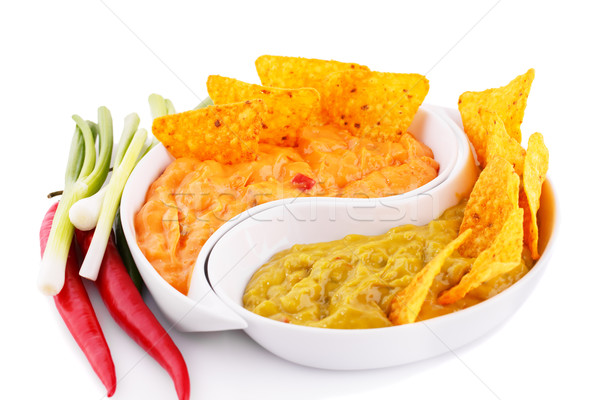 Nachos queijo molho legumes isolado branco Foto stock © ruzanna