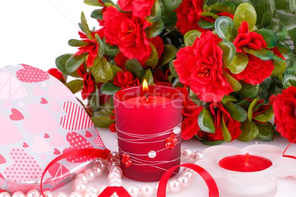 красные цветы свечей шкатулке фотография Сток-фото © ruzanna