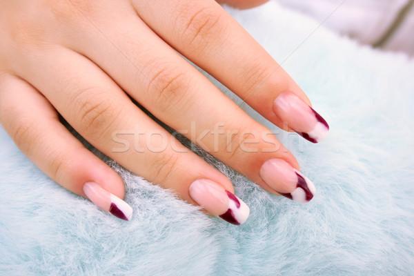 женщину стороны ногтя искусства аннотация синий Сток-фото © ruzanna