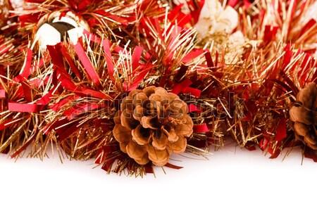 Karácsony girland háttér fehér ajándék ünnep Stock fotó © ruzanna