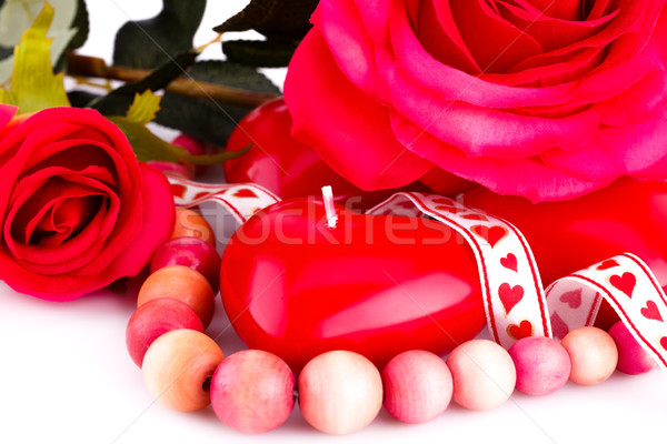 Red heart candles, necklace and roses Stock photo © ruzanna