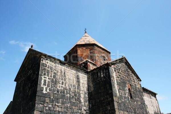 Monastère croix église bleu Rock rouge Photo stock © ruzanna