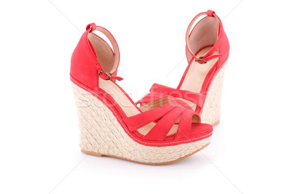 красный сандалии изолированный белый моде красоту Сток-фото © ruzanna