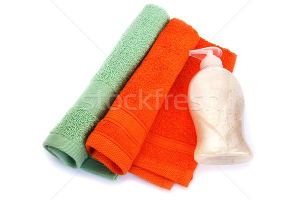 Towels and liquid soap bottle Stock photo © ruzanna