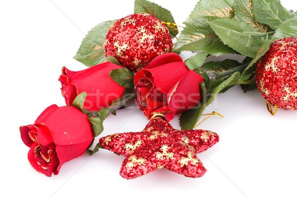 Natal estrela rosas vermelho isolado Foto stock © ruzanna
