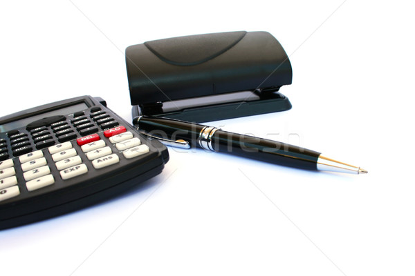 Calculator,puncher and pen Stock photo © ruzanna