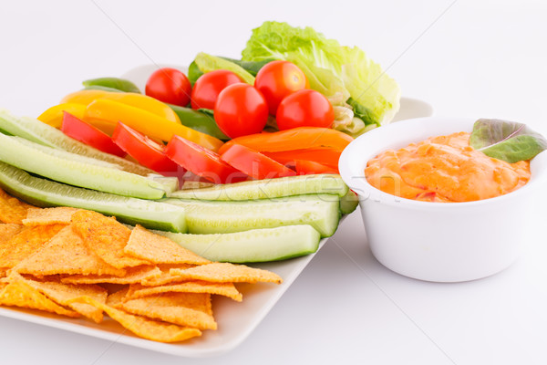Nachos zöldségek sajt mártás izolált szürke Stock fotó © ruzanna