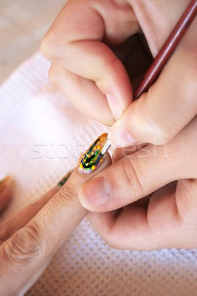 Szög művészet kéz festmény körmök ecset Stock fotó © ruzanna