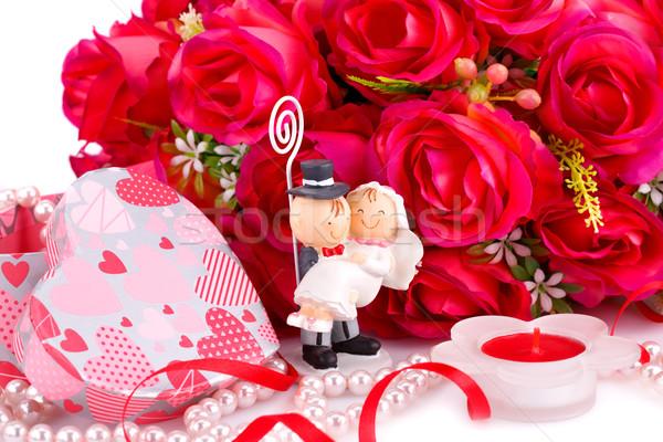 свадьба день красные розы невеста свечу шкатулке Сток-фото © ruzanna