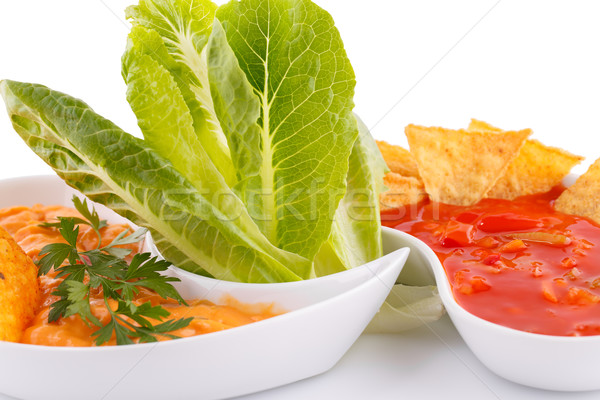 Начо сыра красный соус овощей изолированный Сток-фото © ruzanna