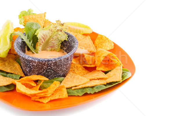 Nachos fromages sauce laitue isolé blanche Photo stock © ruzanna