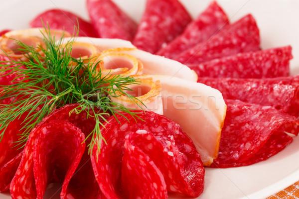 Salami lard plaque image alimentaire Photo stock © ruzanna