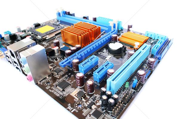Foto stock: Placa-mãe · computador · isolado · branco · azul · indústria