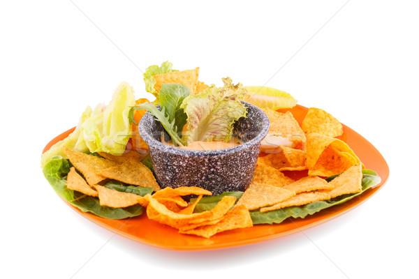 Nachos queijo molho alface isolado branco Foto stock © ruzanna