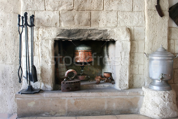Fire-place in old house Stock photo © ruzanna