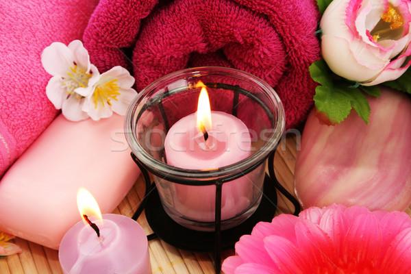 Сток-фото: цветы · свечей · огня · закрывается · группа