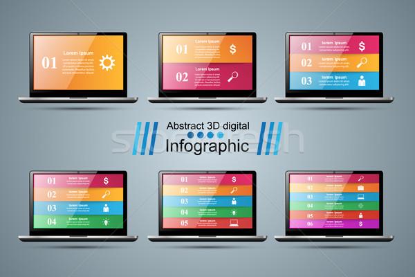 3D インフォグラフィック スマートフォン アイコン デザインテンプレート マーケティング ストックフォト © rwgusev