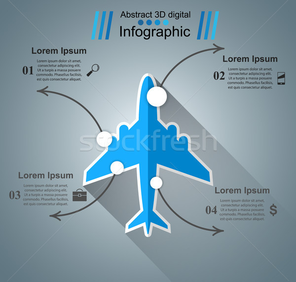 Airplane infographic. Business icon Stock photo © rwgusev