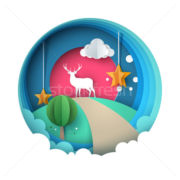 Happy New Year illustration. Merry Christmas. Deer, sun, cloud, star, winter Stock photo © rwgusev