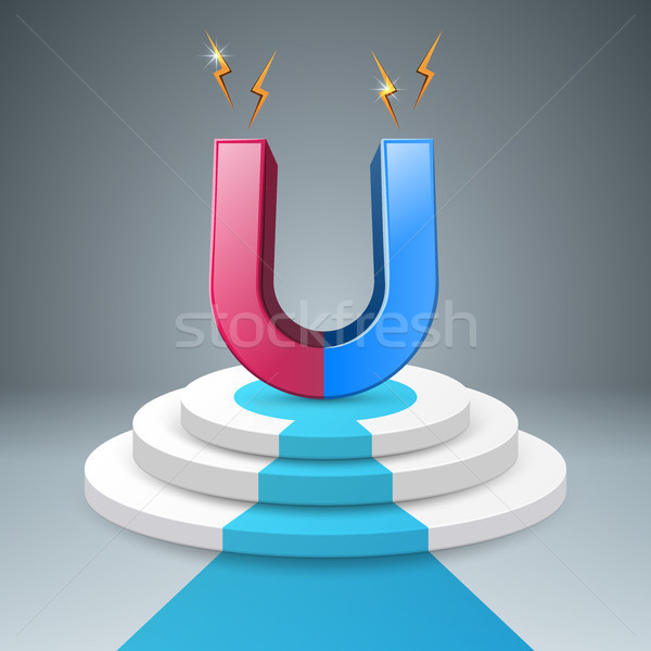 Magneet trap ladder 3D icon eps Stockfoto © rwgusev