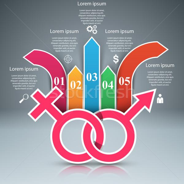 Business infographics man vrouw icon origami Stockfoto © rwgusev
