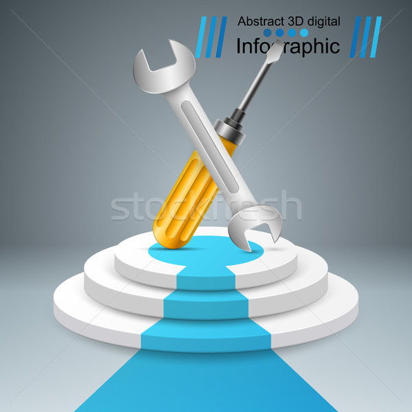 Wrench, screw, repair, pedestal, stair, ladder icon. Business in Stock photo © rwgusev