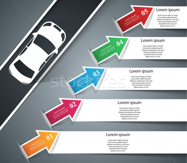 Road infographic design template and marketing icons. Car icon. Stock photo © rwgusev