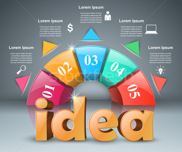 Idee 3D business infographics grijs achtergrond Stockfoto © rwgusev