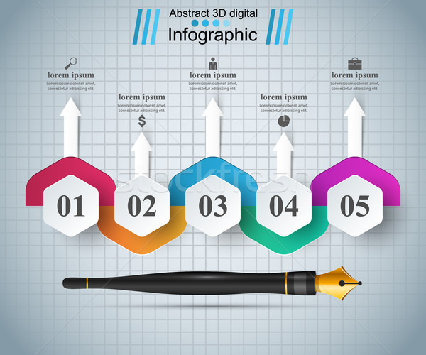 Ink pen, education icon. Business infographic. Stock photo © rwgusev