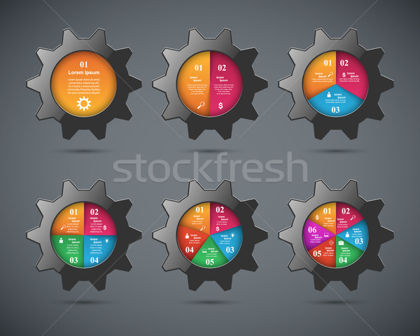 Gear икона бизнеса Инфографика оригами Сток-фото © rwgusev