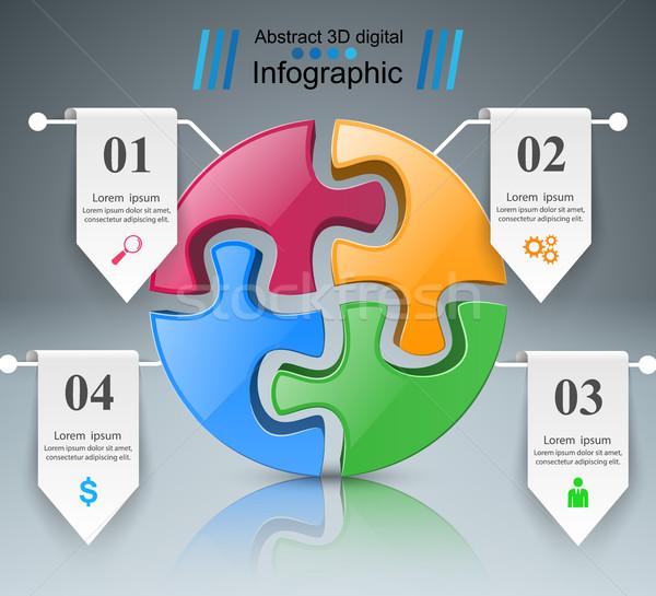 Stock fotó: Puzzle · logo · üzlet · infografika · 3D · ikon