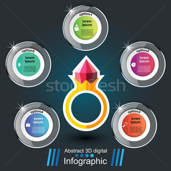 Papír üveg gyűrű infografika vektor eps Stock fotó © rwgusev