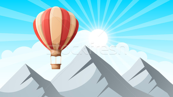 landscape mountain. Air ballon. Stock photo © rwgusev