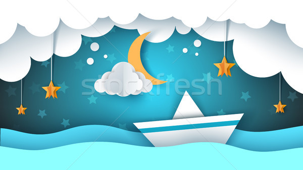 Paper origami illustration. Ship, cloud, star, moon. Stock photo © rwgusev