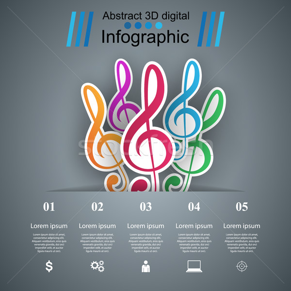 Music Infographic. Treble clef icon. Note icon. Stock photo © rwgusev
