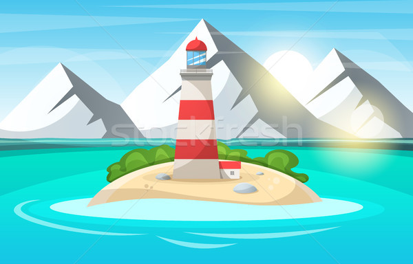 Farol mar desenho animado paisagem vetor eps Foto stock © rwgusev