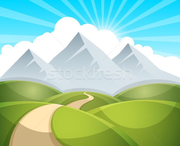 Cartoon landscape illustration. Sun. cloud, mountain Stock photo © rwgusev