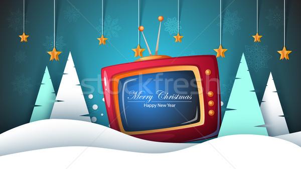 Neşeli Noel happy new year tv manzara Stok fotoğraf © rwgusev