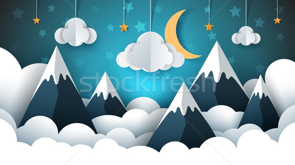 Mountain landscape paper illustration. Cloud, star, moon, sky. Stock photo © rwgusev