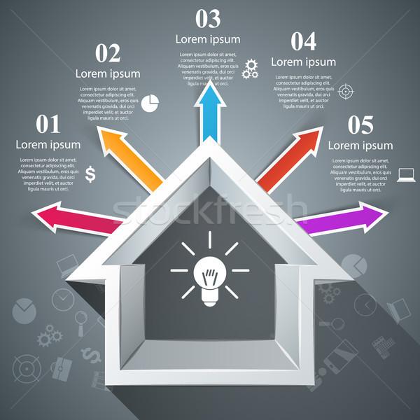 Casa abstrato 3D ícone negócio Foto stock © rwgusev