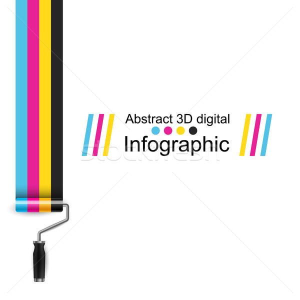Roller paint, CMYK color print. Stock photo © rwgusev