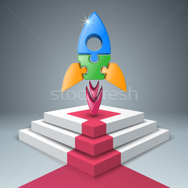 Rakietowe drabiny schodów ikona streszczenie ilustracja Zdjęcia stock © rwgusev