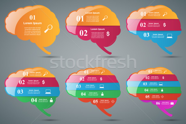 Stock photo: Brain infographic and business icon.